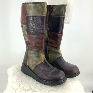 Dr martens leather patchwork Tall platform…